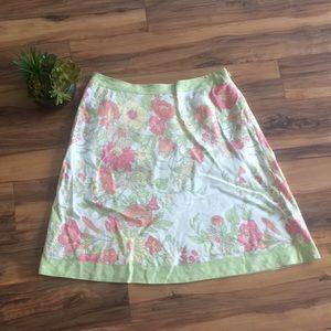 LOFT Pink & Green Floral Print A-Line Skirt